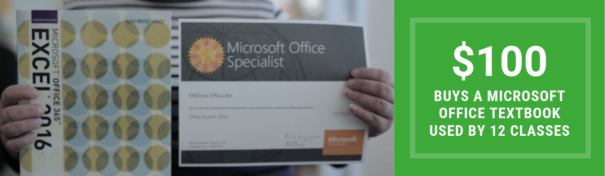 $100 buys a Microsoft Office textbook that will be used by 12 classes