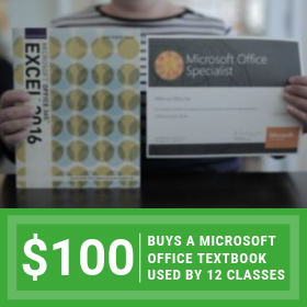 $100 buys a Microsoft Office textbook used by 12 training classes